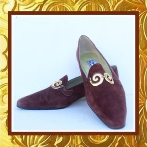 Vintage Healed Loafer 90s Brown Leather Gold Swirl